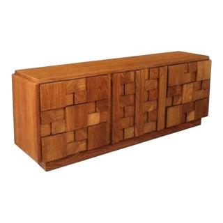 Mid-Century Brutalist Paul Evans Lane Oak Cubism Block Style Credenza Dresser For Sale