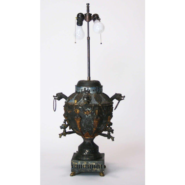 Antique Tole Samovar Mounted As A Lamp For Sale - Image 4 of 8