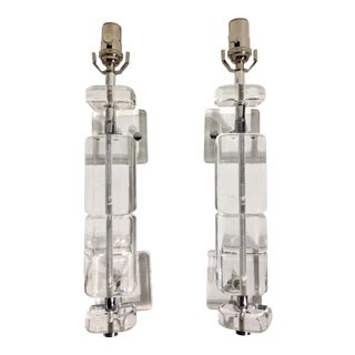 Mid Century Lucite Wall Sconces- A Pair For Sale
