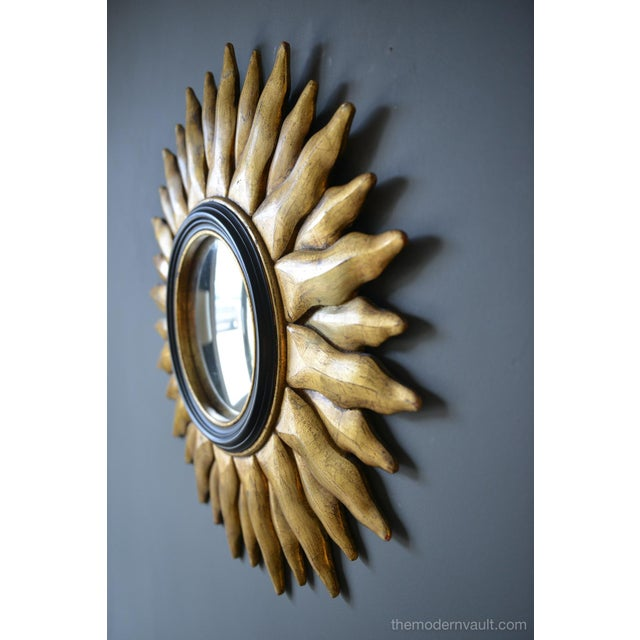 Mid-Century Modern 1970s Vintage Giltwood Convex Sunburst Mirror For Sale - Image 3 of 7