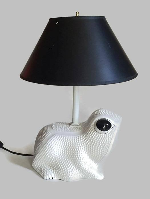 Mid Century Modern Frog Lamp White Italian Porcelain Accent Table Lamp    Image 10 Of 11