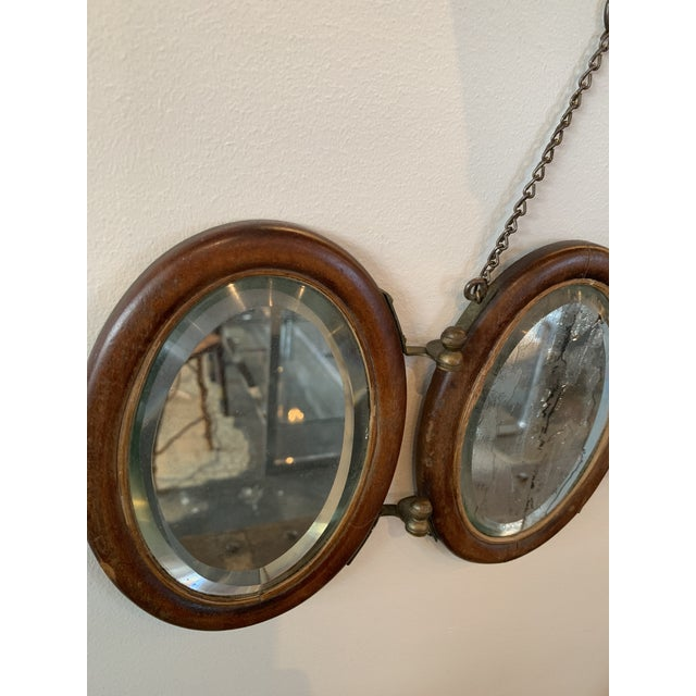 Traditional Trifold Wooden Hanging Mirror For Sale - Image 3 of 6