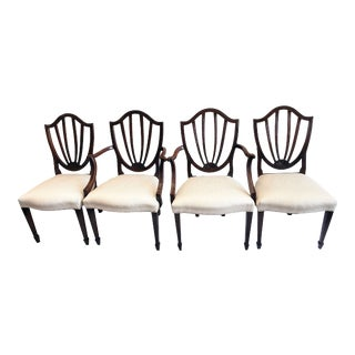 Set of 4 Baker Furniture Hepplewhite Shield Back Dining Chairs For Sale