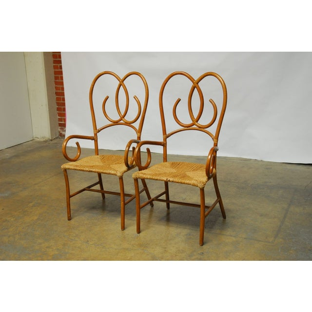 French Art Deco Style Rattan Armchairs - Pair - Image 3 of 10