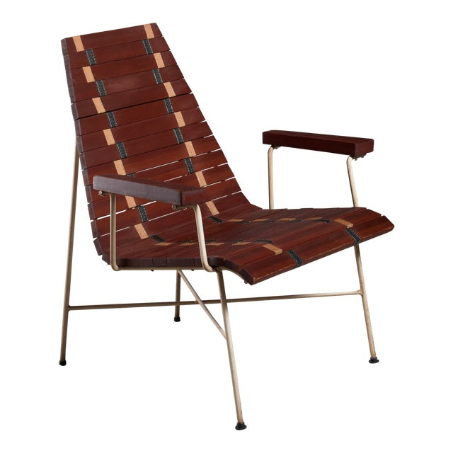 Rare Mid-Century Modern Chair in Oregon Pine and Metal