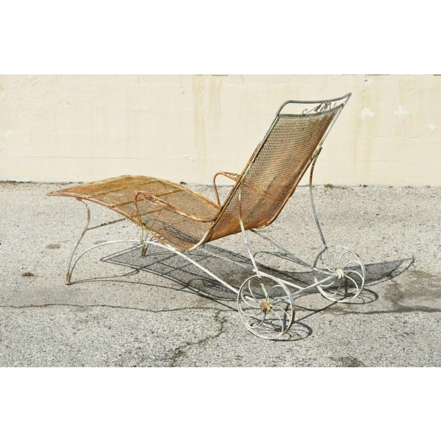 Mid-Century Modern Mid Century Modern Russell Woodard Wrought Iron Patio Chairs- A Pair For Sale - Image 3 of 13
