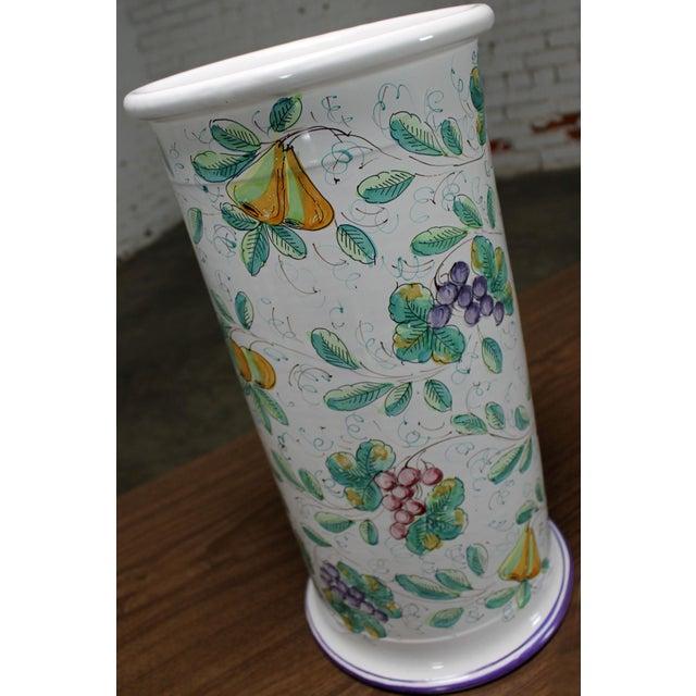 Italian Vintage Italian Castelli Pottery Umbrella Stand Signed L. Pardi For Sale - Image 3 of 11