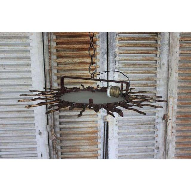 Spanish Gilt Metal Sunburst Flush Mount Ceiling Fixture - Image 5 of 8