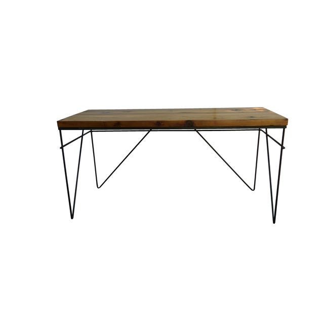Modern Industrial Steel & Cedar Desk - Image 5 of 8