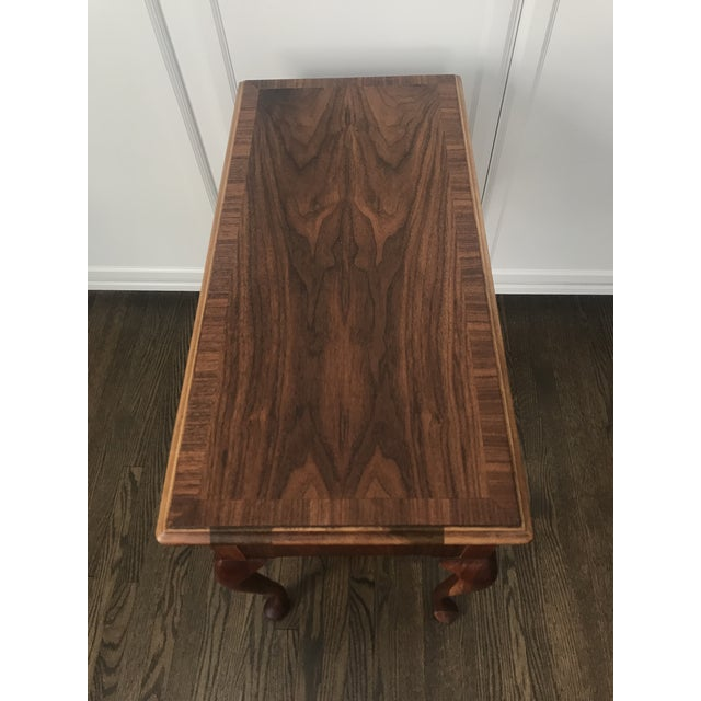 1950s Queen Ann Baker Furniture Walnut Console Table For Sale - Image 6 of 10