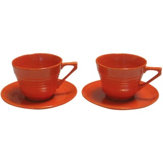 Mid-Century Red Harlequin Cups & Saucers - A Pair For Sale