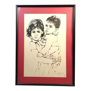 """Vintage Israeli Art """"Brother and Sister"""" Moshe Gat Signed and Numbered Print, 1960s For Sale"""