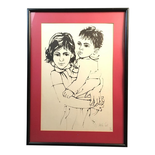 "Vintage Israeli Art ""Brother and Sister"" Moshe Gat Signed and Numbered Print, 1960s For Sale"