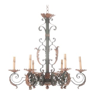 French 19th Century Painted Iron Chandelier