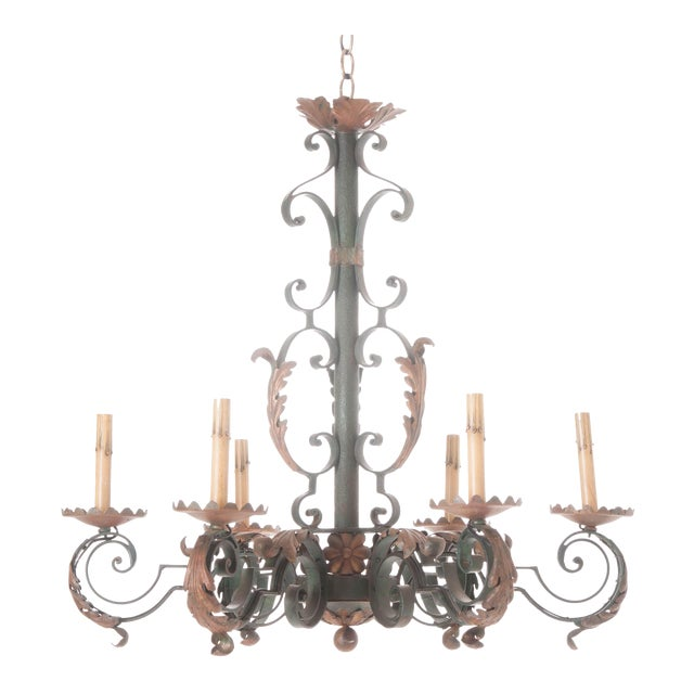French 19th Century Painted Iron Chandelier - Image 1 of 7