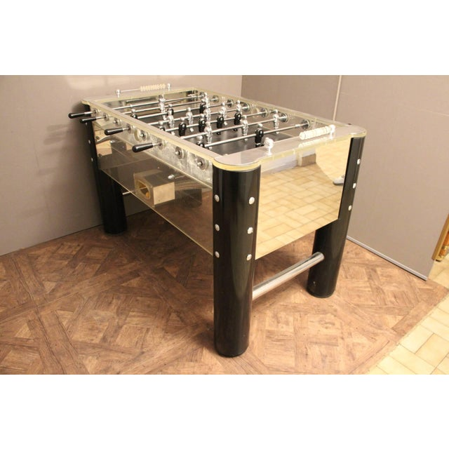 Aluminum 1970s Lucite and Mirror Polished Aluminum Foosball Table For Sale - Image 7 of 12
