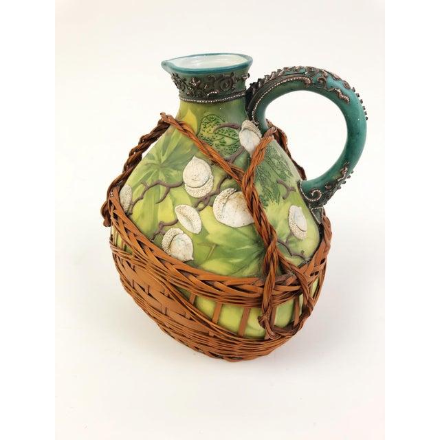 Nippon Japanese Porcelain Ewer With Maple Leaf Mark, Green & Beige Acorn Motif, 1891-1921 For Sale - Image 4 of 4