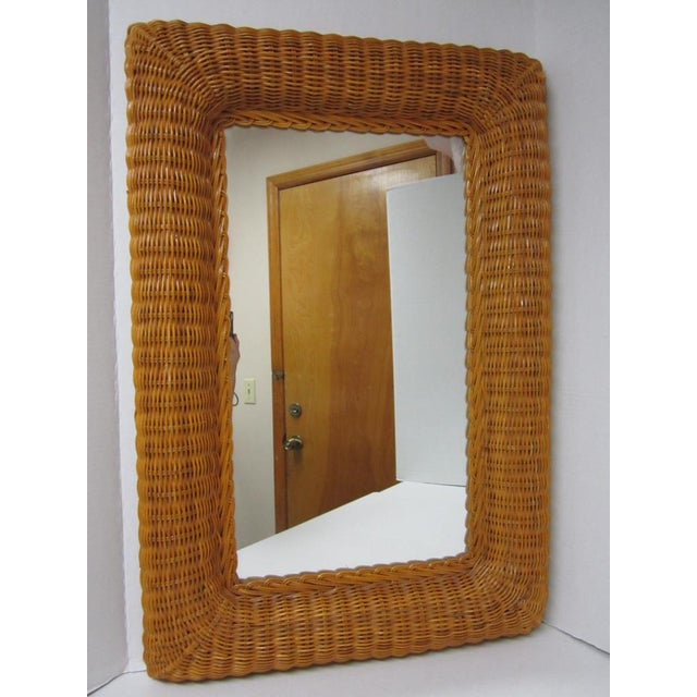 Vintage Lacquer Wicker Rattan Wall Mirror - Image 2 of 11