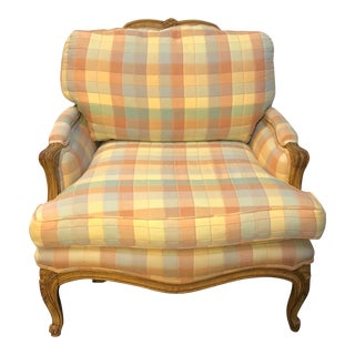 Vintage Upholstered Bergere Style Chair For Sale