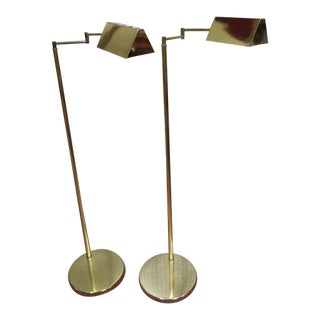 Vintage Mid Century Modern Koch and Lowy Brass Swim Arm Floor Lamps, C. 1970 - a Pair For Sale