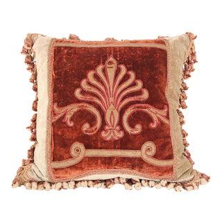 Antique 19th Century Silk Velvet Textile Fragment Framed into a Pillow For Sale