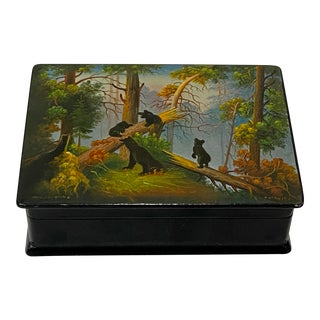 "Russian Paper-Mache ""Morning in the Woods"" Hand Painted Lacquered Trinket Box For Sale"