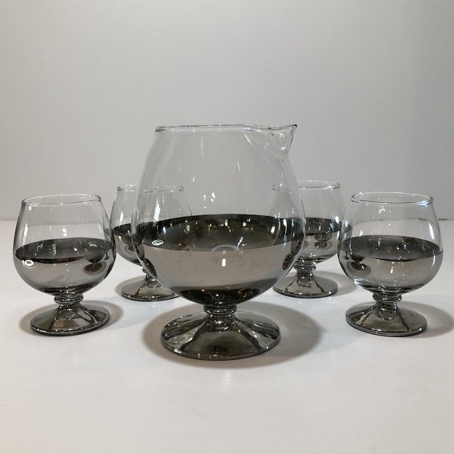 Mid Century Platinum Ombre Decanter and Snifter Glasses - Set of Five For Sale - Image 9 of 9