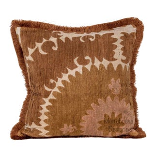 Vintage Embroidered Samarkand Pillow With Brush Fringe For Sale