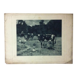 """Antique Photogravure on Paper, """"The Hour for Milking"""" from D. Appleton & Co - Circa 1860 For Sale"""