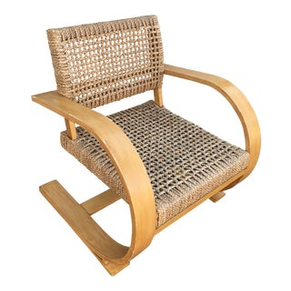 Mid-Century Jute Beechwood Cantilevered Chair