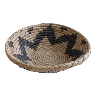 Vintage Native American Inspired Hand Woven Tan Black Coil Basket For Sale