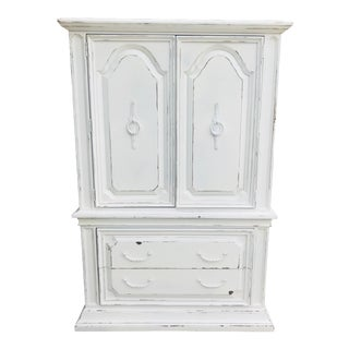 1990s Contemporary White Distressed Armoire Chest Chifferobe