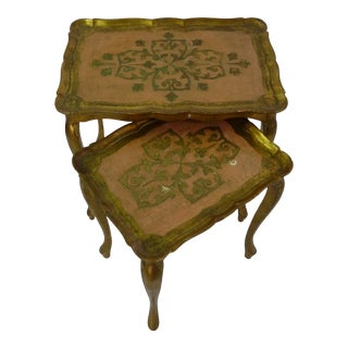 Italian Florentine Pink & Gold Wood Nesting Tables - Set of 2 For Sale
