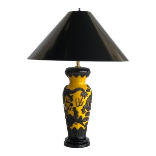 1930 Peking Carved Glass Urn on Wooden Base Table Lamp For Sale