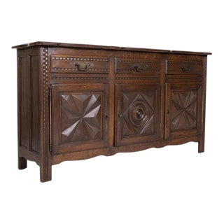 Antique French Louis XIII Style Solid Oak Enfilade Buffet From Brittany For Sale