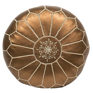 Embroidered Faux Metallic Leather Pouf, Bronze For Sale