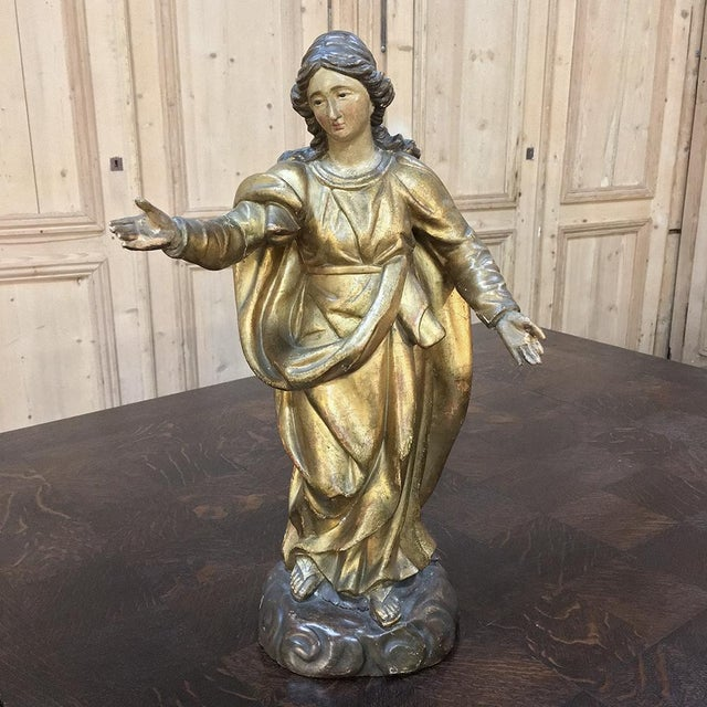 19th Century Giltwood Polychrome Statue of Madonna For Sale - Image 12 of 12