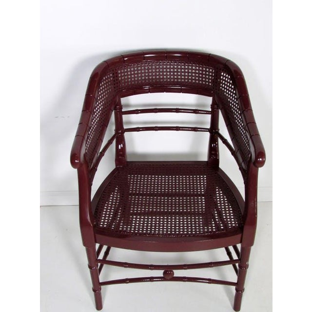 Faux Bamboo & Cane Lacquered Club Chair - Image 2 of 8