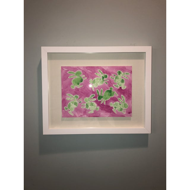 Green Hatch Bunnies in Pink Original Watercolor Painting For Sale In Nashville - Image 6 of 8