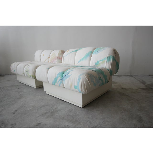 Incredible and large, post modern Italian style slipper chairs on a plinth bases. Most likely custom pieces, these...
