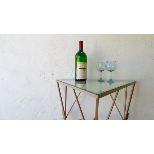 White Vintage Mediterranean Wrought Iron and Glass Tall OutDoor Table Bar For Sale - Image 8 of 13