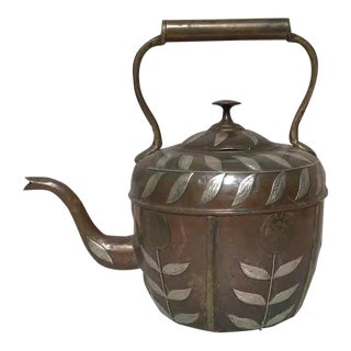 Early 20th Century Copper Tea Pot With Silver Leaf Motif For Sale