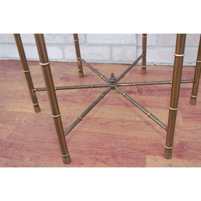 Brass 1970s Mid Century Modern Mastercraft Faux Bamboo Side Tables - A Pair For Sale - Image 8 of 10