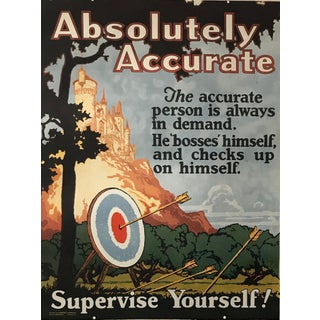 1924 Original Motivational Poster, Absolutely Accurate, Mather Work Incentive For Sale