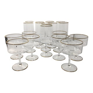 1960s Traditional Lenox Gold Trim Crystal Glassware - Set of 18