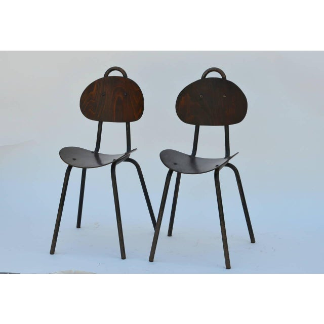 Pair of Unique French 1950s bentwood side chairs. Similar chairs were used by Jacques Grange in a recently published...