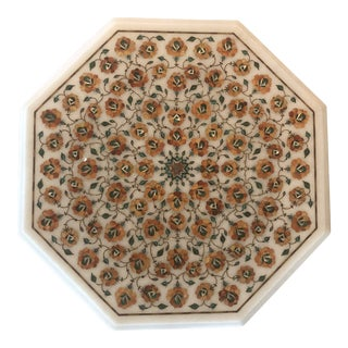 Handmade Marble Inlay Side Table For Sale
