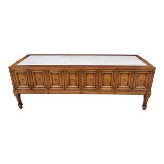 1970s Hollywood Regency Weiman Burl Wood Console Cabinet For Sale