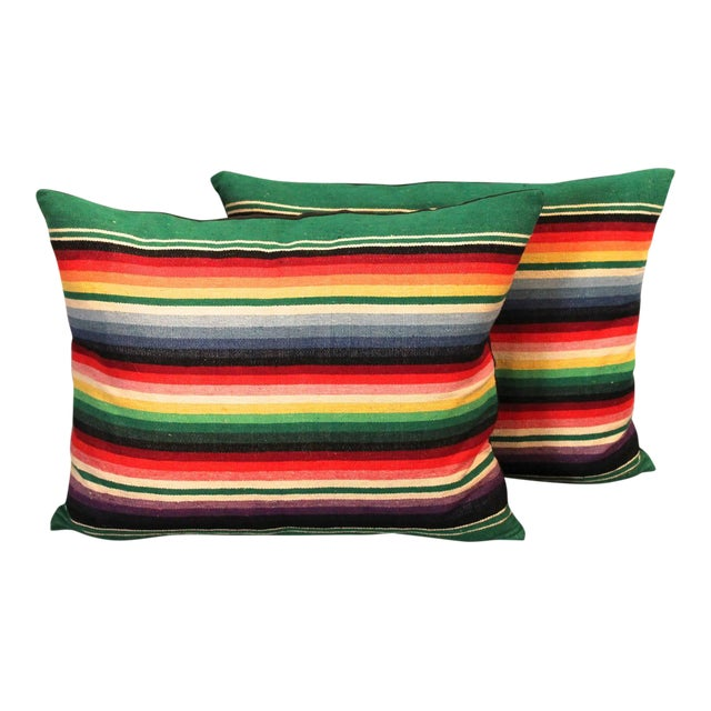 Pair of Mexican American Serape Indian Weaving Pillows For Sale