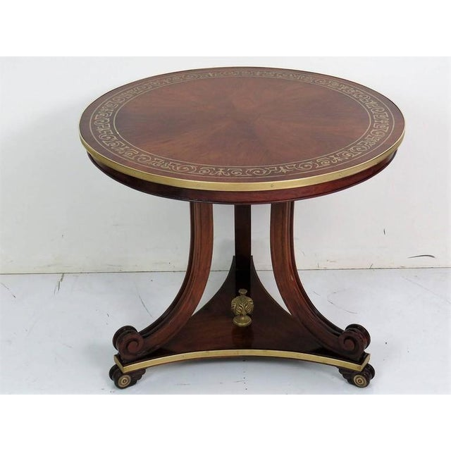 Regency/Baltic Style Inlaid Brass Centre Table For Sale - Image 4 of 5